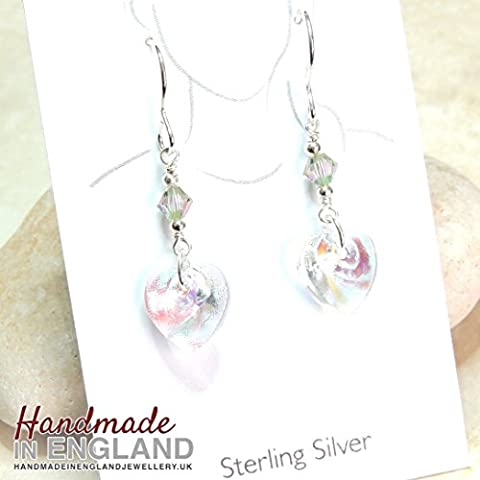 Handmade Sterling Silver & Clear AB Preciosa Love Heart Earrings with Swarovski® Crystals