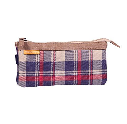 Clairefontaine Age Bag 20X 2X 10cm Trousse plate avec 3compartiments–Motif tartan Bleu