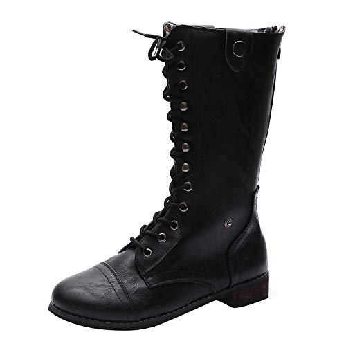 Logobeing Zapatos de Mujer Denim Botas Altas de Vaquero Romano de Mujer Botas Largas Militar Tacones Mujer Calientes Seguridad Zapatillas-Cremallera(38,Negro)