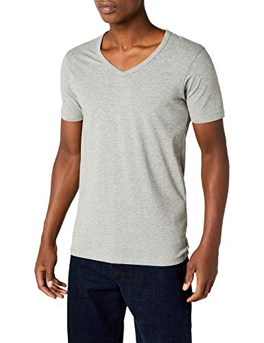 JACK & JONES Herren T-Shirt 12059219 Basic V-Neck Tee, Gr. 50 (M), Grau (LIGHT GREY MELANGE) - Lycra V-neck-shirt