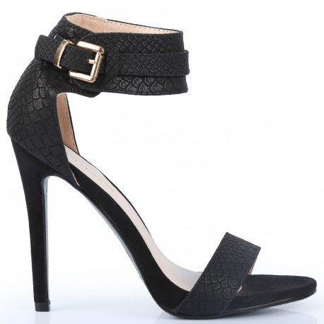Ideal Shoes - Escarpins imprimés reptiles Milana Noir