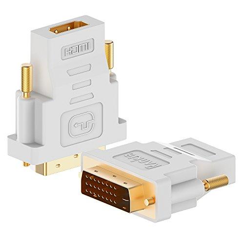 DVI auf HDMI, Rankie 2-Stück Vergoldet 1080P DVI-D zu HDMI Male zu Female Kabel HDTV Adapter Konverter (Weiß)
