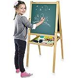 Leomark Deluxe Pizarra infantil 2 en 1 pizarra para pintar pizarra magnética de madera con accesorios