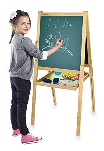LEOMARK Deluxe Merkell Standkindertafel Holz Schultafel Schreibtafel Maltafel Kindertafel Standtafel Magnet-Standtafel ZUBEHÖR Magnetisch 108 Teile Kinder Spaß Und Bildung Zweiseitige Tafel