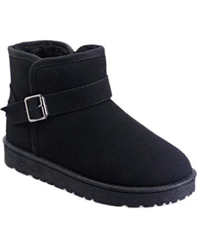 Minetom Femmes Hiver Mode Coton Bottes Nouveau Cheville Chaussures Peluche Rembourré Bottes De Neige Avec Boucle