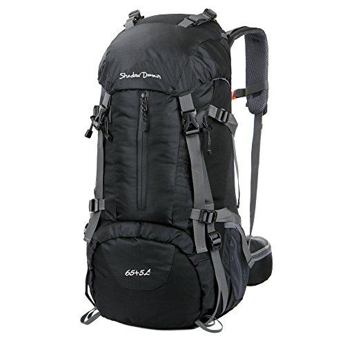 Wasserdichter Rucksack mit 45L + 5L 65L + 5LFassungsvermögen aus strapazierfähigem Nylon mit Regenschutzhülle. Großer Trekkingrucksack, perfekt zum Wandern, Bergsteigen, Reisen und für Sport und Camping. (Schwarz)