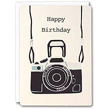 James Ellis Cámara Retro - Tarjeta de felicitación para cumpleaños, crema