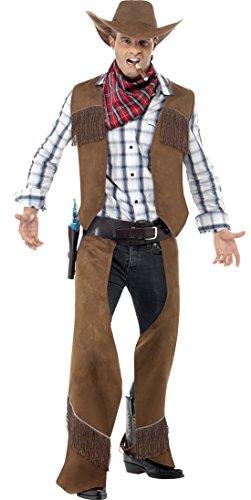 Preisvergleich Produktbild Halloweenia - Herren Fransen Cowboy Kostüm Weste Chaps mit Halstuch und Hut,  M,  Braun