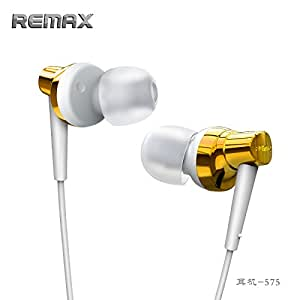 REMAX RM-575 Fashion Color High Performance Headphones In-Ear Stereo Headset With Microphone and Super Bass, Noise Isolation, Tangle-Free Cord,3.5mm Plug for iPhone 6 Plus 5S 5C 5 4S, iPad Air 2 Mini 3, Samsung Galaxy S6 S5 S4 Note Tab, Nexus, HTC, Motorola, Nokia,more Phones and Tablets (Gold)