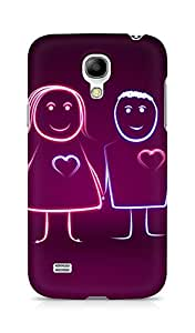 Amez designer printed 3d premium high quality back case cover for Samsung Galaxy S4 Mini (Heartbeat Lover Couple)