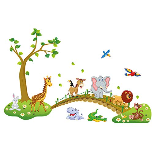 Qzheng Cartoon Niedlichen Tier Kreuzung Brücke Diy Vinyl Wandaufkleber Kinderzimmer Dekoration Kunst Aufkleber Kreative 3D Tapete 60 * 90 Cm