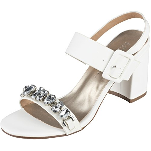 M&S Ladies Block Heel Summer Sandals Shoes (UK 6, White)