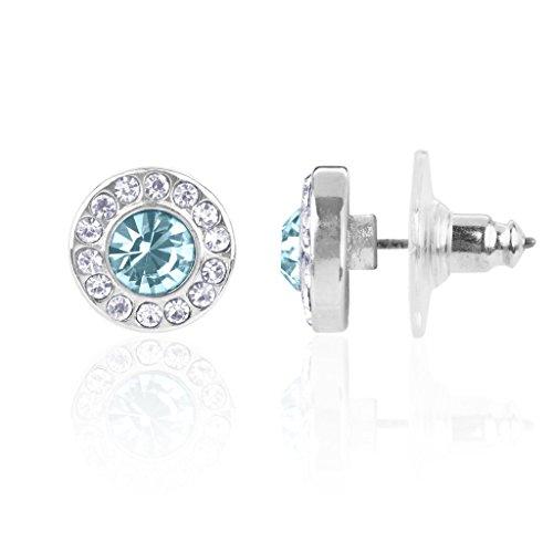 Lux Accessories - Orecchino a bottone con pietra portafortuna del mese di marzo acquamarina