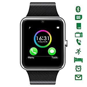 CHEREEKI Bluetooth Smart Watch with Camera Supports SIM Card TF Card Wrist Phone Watch Touch Screen Smartwatch Pedometer Bracelet for Android Smartphones