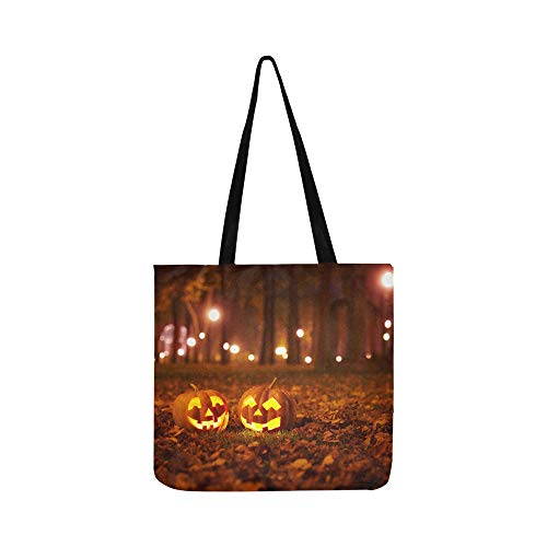 Halloween Kürbis Mit Brennenden Kerzen Leinwand Tote Handtasche Umhängetasche Crossbody Taschen Geldbörsen Für Männer Und Frauen Einkaufstasche