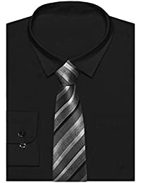 d3b4c3105b06e8 ZipZappa Wedding Christening Kids Long Sleeve Formal Classic Plain Boys  Shirt   Tie Set Party