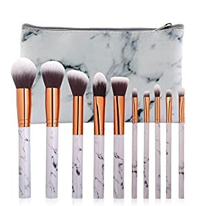 10Pcs Marble Makeup Brushes Beauty Professional Cosmetic Unique Style Kabuki Brush Set Foundation Brush Powder Brush Eyeshadow Brushes with PU Leather Bucket Greatlizard (A3)