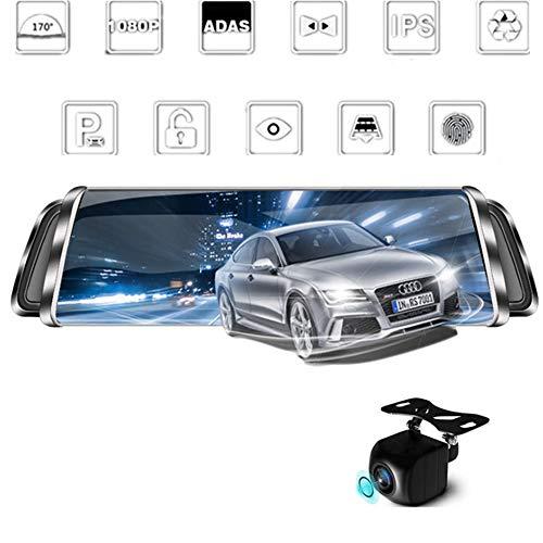 TLgf Car Dash Cam, Fahrregender, Rückspiegel Navigations-Fahrregrekorder, Dual-Aufnahme HD Bluetooth WiFi 4G Netzwerk-Bewegungserkennungsschleife Nachtsicht
