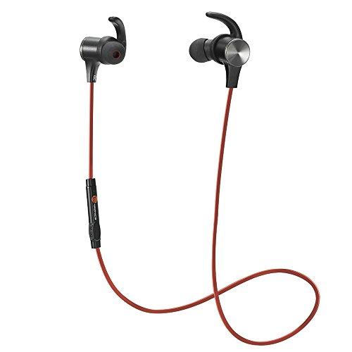 Magnetiche, TaoTronics Auricolari Sportivi Wireless Stereo (4.1, IPX5, aptX, A2DP, 6 ore di Riproduzione, Microfono Incorporato, CVC 6.0 ) per iPhone, Galaxy, Tablet, MP3, ecc. – Rosso
