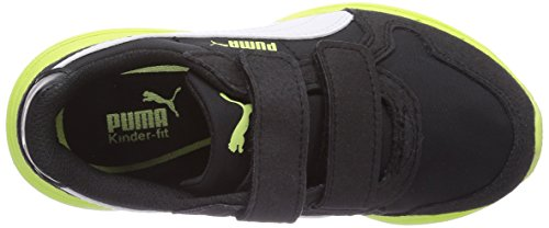Puma Future St Runner V Kids, Baskets Basses mixte enfant Noir - Schwarz (black-white-sharp green 04)