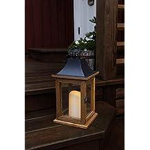 Romántico decorativa XL - LED Linterna con puerta - de madera, vidrio y metal -