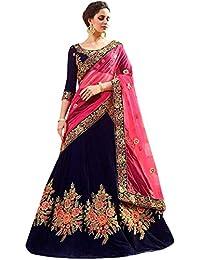 f3e7cbde2f SM Beauty Collection Womens Silk Embroidered Semi stitched Lehenga choli  with dupatta Set (Free size_