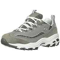 Skechers Sport Women's D'Lites Memory Foam Lace-up Sneaker,Grey/White,9 W US