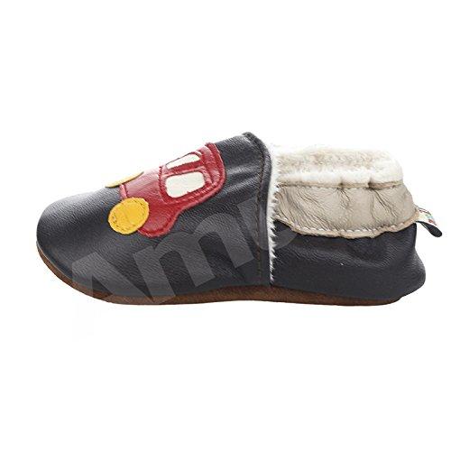 Chaussures souples bebe chaud chaussons en cuir doux enfant unisex noeud papillon rose M:6-12 mois/longueur interieur:12CM voiture