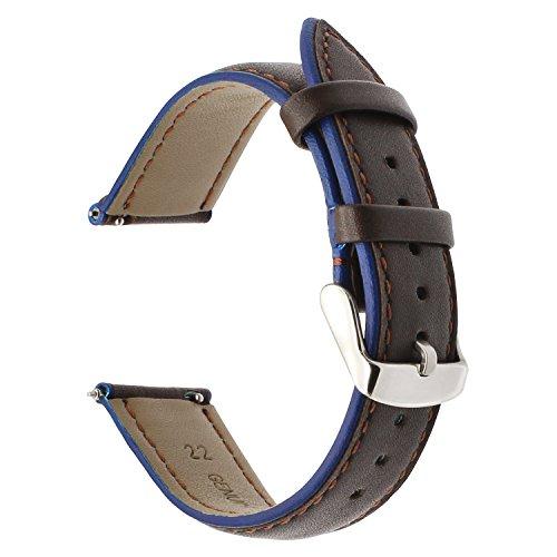 Per la cinghia di Samsung Gear S3 Cinturino, fascia doppia di TRUMiRR 22 millimetri di cuoio genuino della cinghia di polso di rilascio della fascia per Samsung Gear S3 Classic Frontier, Gear 2 Neo Live, Moto 360 2 46mm Men, Pebble Time, LG G Watch Urbane, Vector, Xiaomi Amazfit