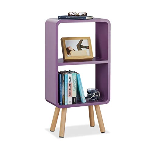 Relaxdays Standregal mit 2 Fächern, schmales Bücherregal ohne Schubladen, Wohnzimmer Regal mit Holzbeinen, violett - Tief Regal Holz Bücherregal