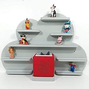 Tonie Board, Wolke in grau mit grauen Regalen, ideale Aufbewahrung für Tonie Box und Tonie Figuren, Kinderzimmer Regal, Deko Board, Musikboxaufbewahrung, Hängeregal