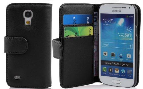 Cadorabo Book Style Hülle für Samsung Galaxy S4 MINI (GT-I9195) - Case Cover Schutzhülle Etui Tasche mit Kartenfach in KAVIAR-SCHWARZ
