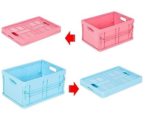 Lot de 2 Petit Panier Boite de rangement Pliable Plastique, Qualité Premium, 4 couleurs - Aywav®, 2 Pack Bleu et Rose