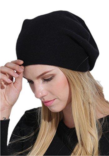 Prettystern - LUXUS 2-fädige reine Kaschmir feinste Fasern unifarbe Beanie Mütze - schwarz