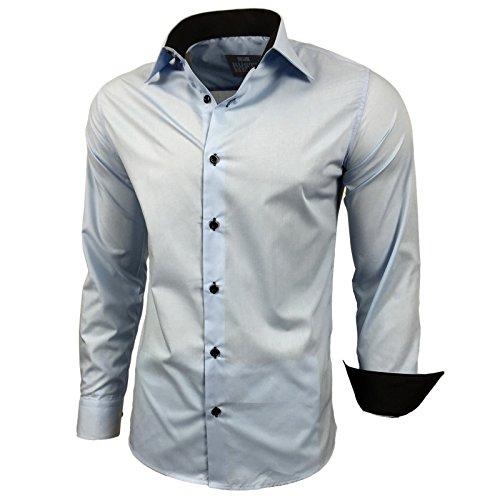 BAXBOY contrasto Slim Fit uomo camicie Business Tempo Libero Camicia a maniche lunghe per 44–RN 2 Blu chiaro
