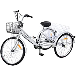 """Yonntech Triciclo para Adultos 24"""" 7 velocidades Bicicleta para Adultos Bicicleta 3 Ruedas Bicicleta Ciudad Bicicleta Mujer con Cesta (Plateado)"""