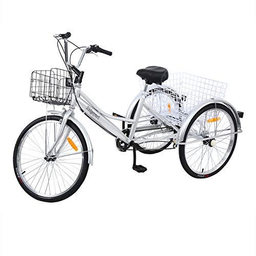 Yonntech Tricicli Adulti 24' 7 velocità Bicicletta 3 Ruote Adulti Bici da Uomo, Donna con Cestino di acquisto