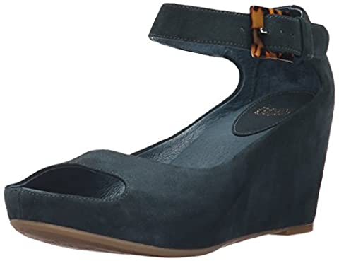 Johnston & Murphy Women's Tricia Ankle Strap Wedge Sandal, Teal, 10 M US