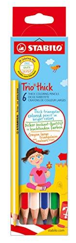 Dreikant-Buntstift - STABILO Trio dick - 6er Pack - mit 6 verschiedenen Farben