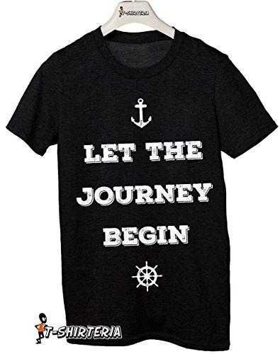 t-shirt frasi simpatiche Let the journey begin, lasciare che il viaggio abbia inizio - tutte le taglie uomo donna maglietta by tshirteria nero