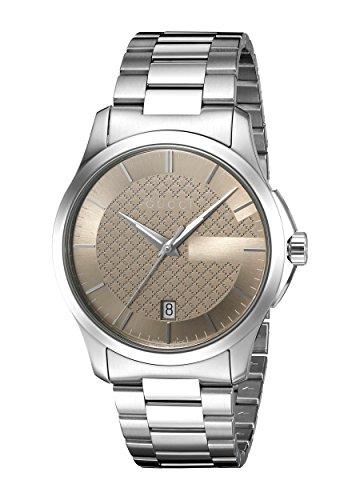 Gucci Unisex Watch Herrenuhren Quarzuhr mit Metallband G-TIMELESS Analog Quarz Edelstahl Braun (Silber) YA126445
