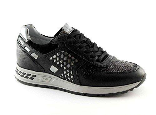 NERO GIARDINI 16182 nero scarpe donna sportive sneakers lacci luxury Nero