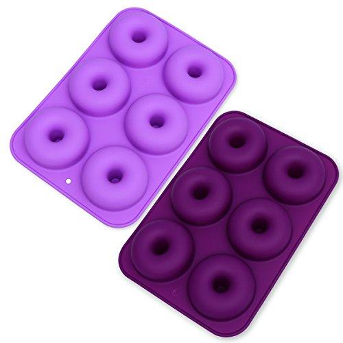 OUNONA 2 stücke 6 Hohlraum Nonstick Donut Pfannen Silikon Backen Donut Form Perfekte Geformte Donuts Backform Maker (dunkelviolett und Hellpurpur)
