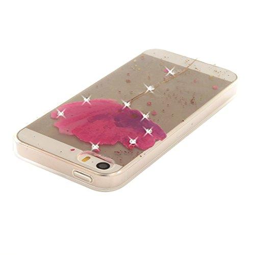 Coque iPhone 5 Doux TPU, iPhone 5S Noctilucent Case, iPhone SE Arrière Etui, Moon mood® Ultra Mince 4.0 pouces Soft Flexible Souple TPU Étui Luminous Rhinestones Housse iPhone 5 5S SE Téléphone Cellul 1 Style-8