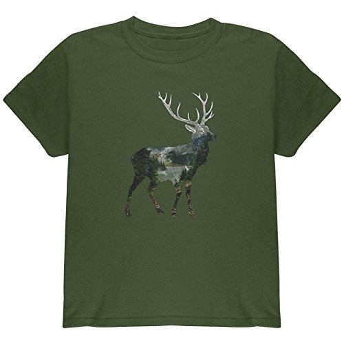 Hirsch Forest Natur wandern Jagd Jugend t-shirt Military grün ysm (Jugend-natur-t-shirts)