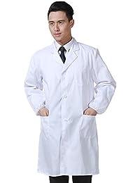 Bata Médico Laboratorio Enfermera Sanitaria de Trabajo Blanca de Manga Larga Unisex