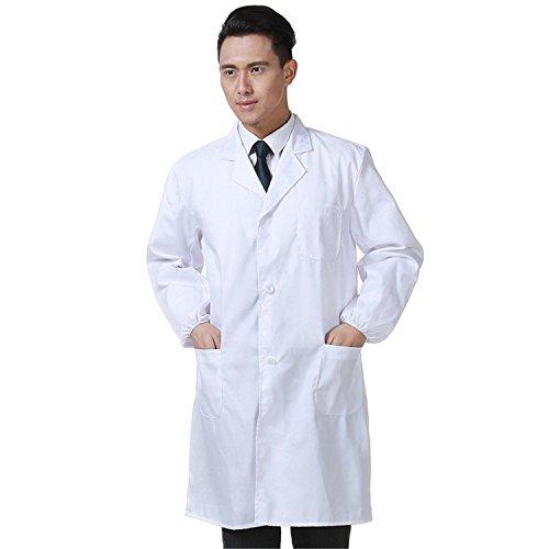 Laborkittel Herren Kittel Medizin Arztkittel weiß mit Knöpfe Labormantel Männer Berufsbekleidung (L) - Kittel Mann