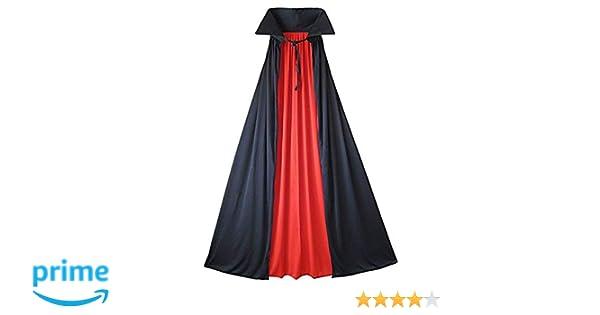 reversibile Mantello con colletto da vampiro per feste a tema Halloween rosso e nero costume da uomo e da donna 90 A cosplay