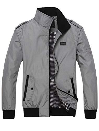 MatchLife Herren Bomberjacke Übergangsjacke Leichte Jacke Casual Mäntel mit Stehkragen Style3 Grey M