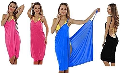 Premium (2-in-1) Trendiges luftiges Strandkleid - Wickeltuch Kleid Wickelkleid Tunika Pareo Sarong - SCHWARZ